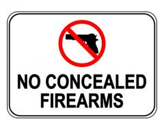 No Concealed Firearms Label Sign